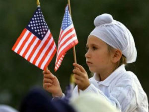 Sikh boy with US Flag