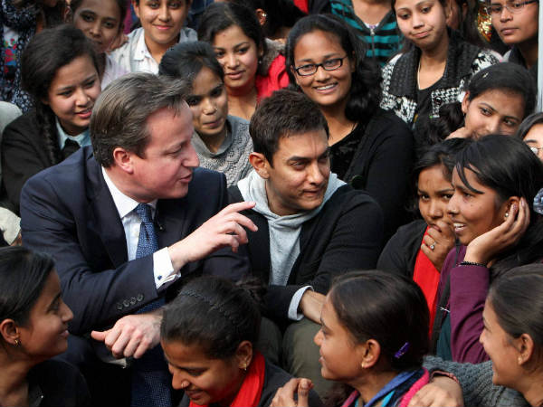 David Cameron Actor Aamir Khan With Students