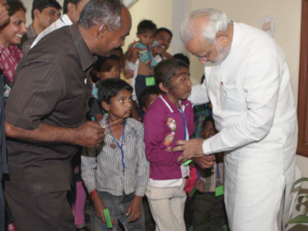 Gujarat Cm Narendra Modi Meets Specially Able Children