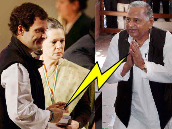Mulayam Gives Electric Shock To Sonia Rahul Gandhi
