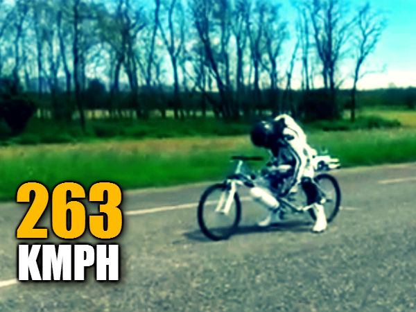 Rocket Powered Cyclist Sets Speed Record