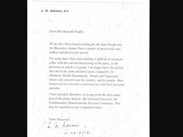 Read Lk Advani What Written His Resignation Letter