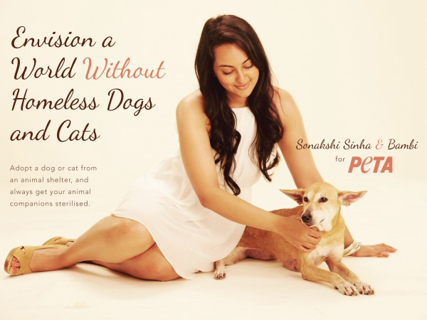 Sonakshi Sinha Joins With Peta For Stray Dogs And Cats