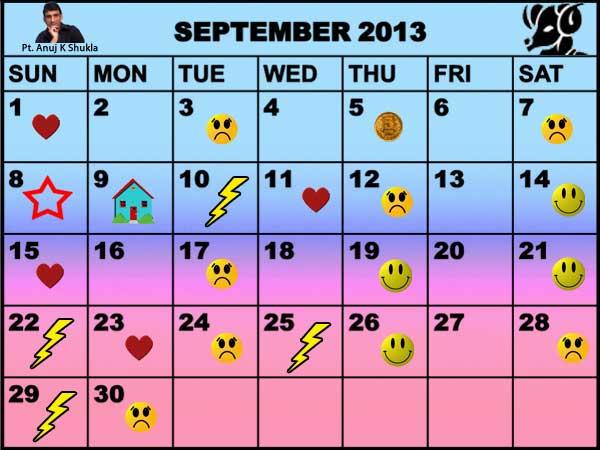 Monthly Predictions Saptember 2013 Astro Calendar