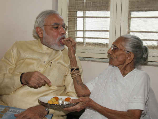 Narendra Modi Meet Mother At Gandhinagar On His Birthday