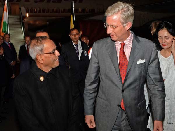 President Mukherjee Arrives Brussels