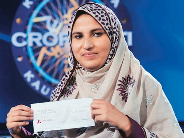 Kbc 2013 Gets Its First Female Crorepati Firoz Fatma From Saharanpur