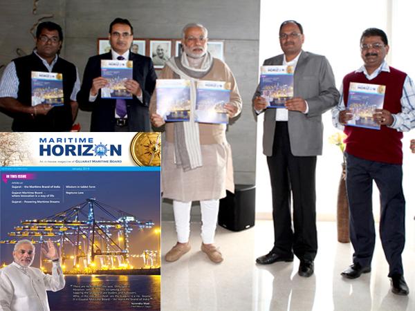 Narendra Modi Unveils In House Magazine Gujarat Maritime Board