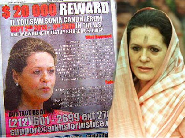 Sikh Rights Group Announces Reward For Information On Sonia Gandhi