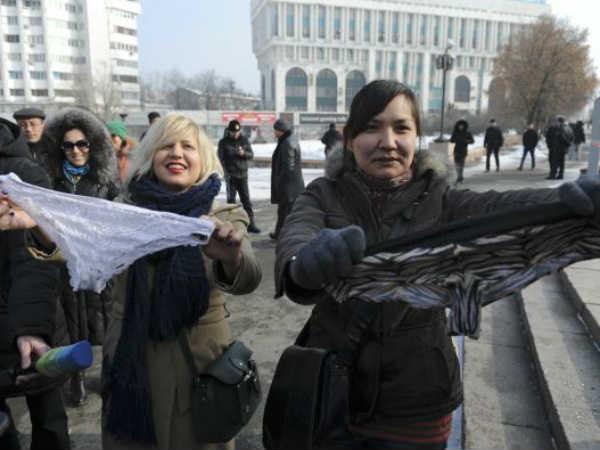 Kazakhstan Women Protest Lace Underwear Ban