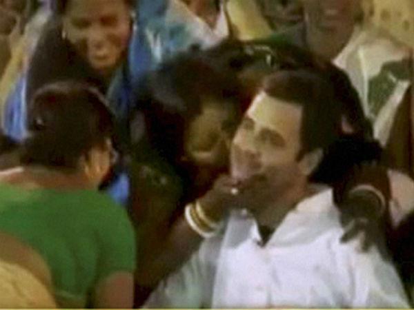 Women Shower Kisses On Rahul Gandhi As He Tours Assam