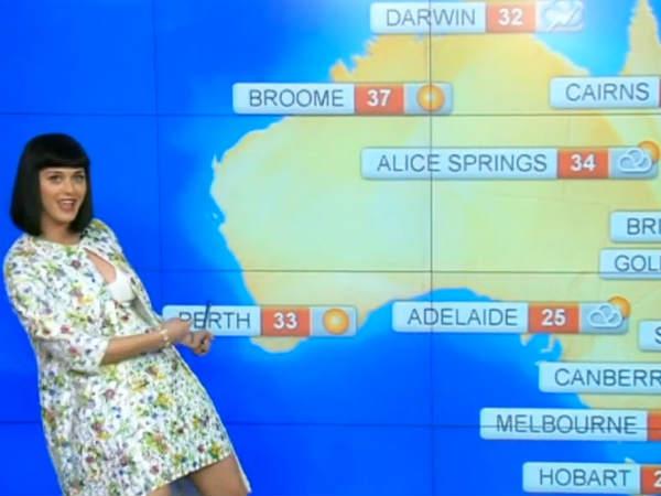 Katy Perry Plays Weather Girl Australian News Show