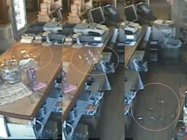 Video Ghost Throwing Glass Gilford Store