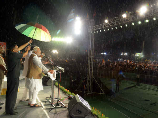 Narendra Modi Addressing Rally Rain See Pics Lse