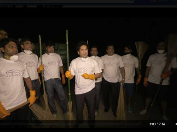 Sachintendulkar Forms 9 Member Team Joins Clean India Campaign
