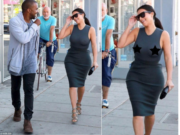 Kim Kardashian Goes Braless On Date With Kanye West