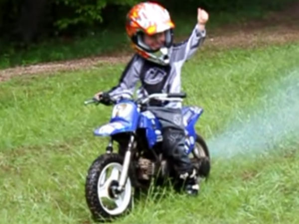 Toddlers Riding Mini Dirt Bikes