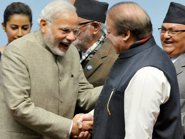 Modi Sharif Shake Hands Meet At Saarc Retreat