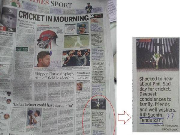 Print Blunder Rip Sachin Tendulkar Says Indian Newspaper Times Of India
