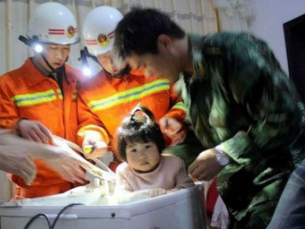 China Baby Rescued From Washing Machine