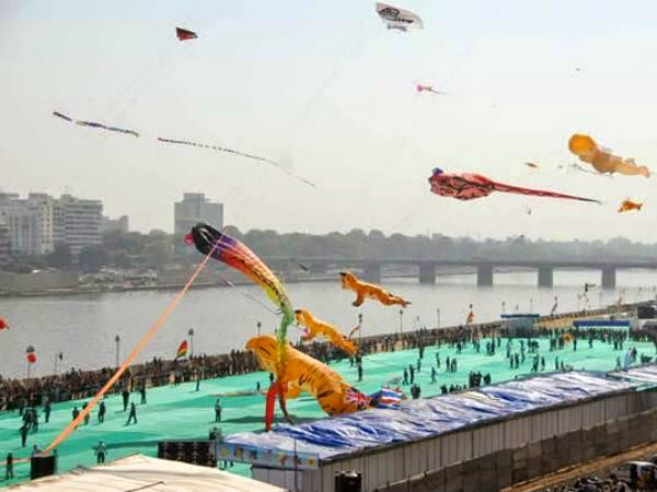 International Kite Festival 2015 Started At Sabarmati Riverfront Ahmedabad Gujarat