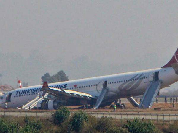 Turkish Airlines Plane Skids Off Runway Kathmandu