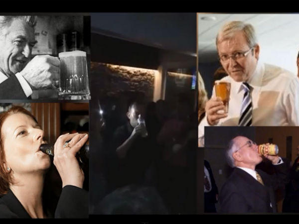 Australian Prime Minister Tony Abbott Sculls Beer Just Few Seconds Sets Record