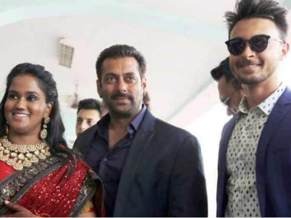 Salman Khan At Arpita Khan Aayush Sharma Wedding Reception