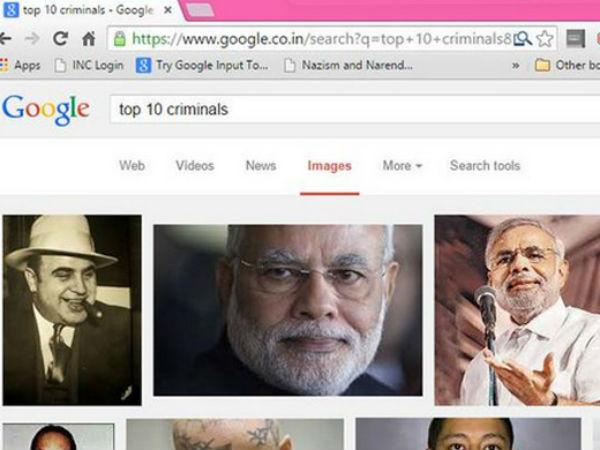 Twitter Erupts As Google Shows Modi Top 10 Criminals List