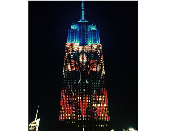 Goddess Kali Projected On The Empire State Building New York Us