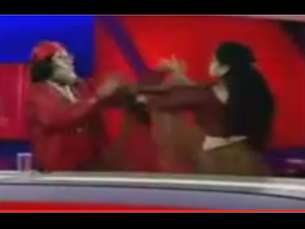 Radhe Maa Debate Goes Violent Astrologer And Baba Trade Blows On Tv Show
