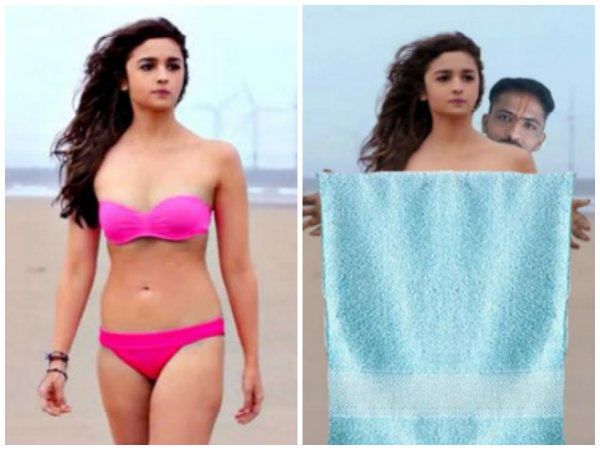 Hilarious Pics When Alia Bhatt S Crazy Fan Put Towel On Her Bikini Body