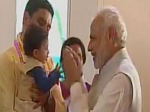 Indian Pm Narendra Modi Playing With Cm Chandrababu Grandson Video