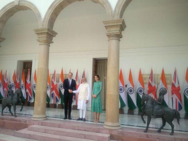 Pics Prince William Kate Meet Pm Delhi