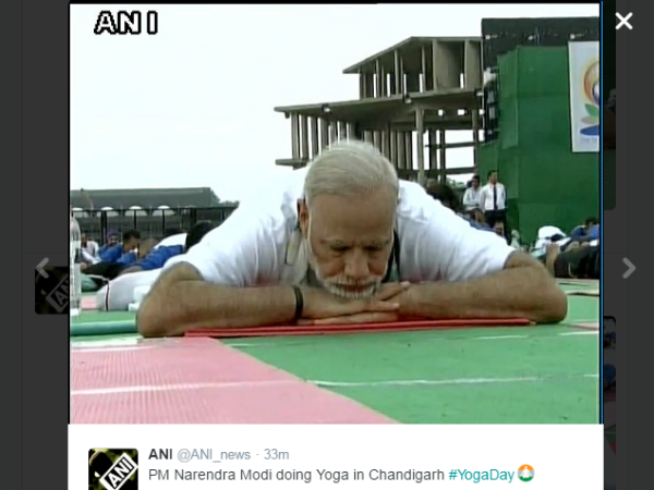 Pm Narendra Modi Does Yoga At Yoga Camp Chandigarh Yogaday