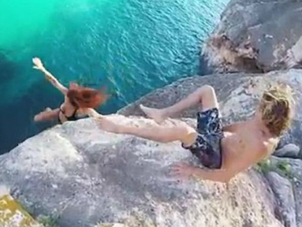 Viral Video Man Refuses To Help Girlfriend Lets Her Fall Off Cliff