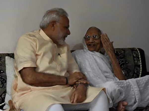PM Modi meets his mother on the occasion of his birthday in Gandhinagar
