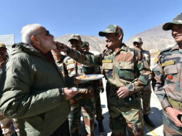 Pm Narendra Modi On Sunday Celebrated Diwali With Jawans