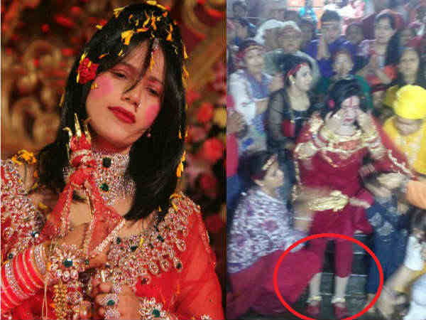 Radhe maa sparks row visits har ki pauri wearing shoes