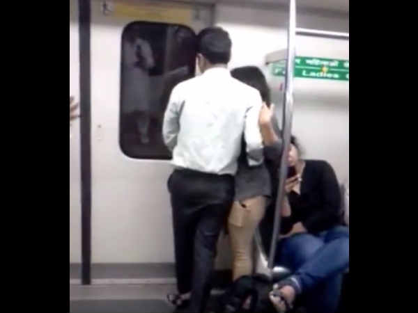 Watch Couple Intimate Inside Delhi Metro Video Goes Viral