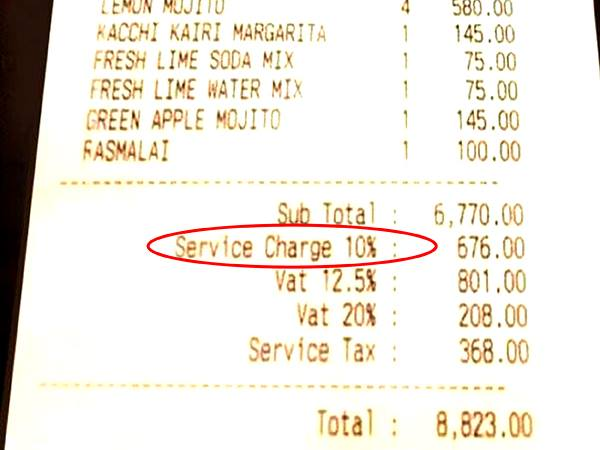 Service Charge Is Voluntary A Customer Dissatisfied With Din