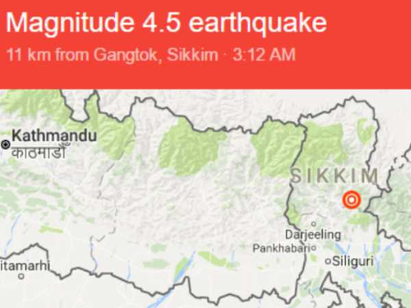 Earthquake Of Magnitude 4 5 Hits Sikkim