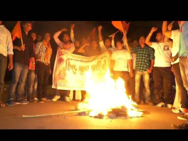 Congress Statue Had Been Burnt Vadodara Surat