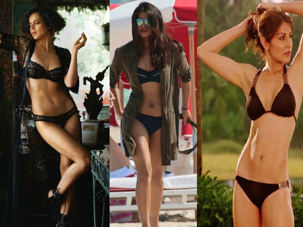 Hot Pics Bollywood Actresses In Black Bikini