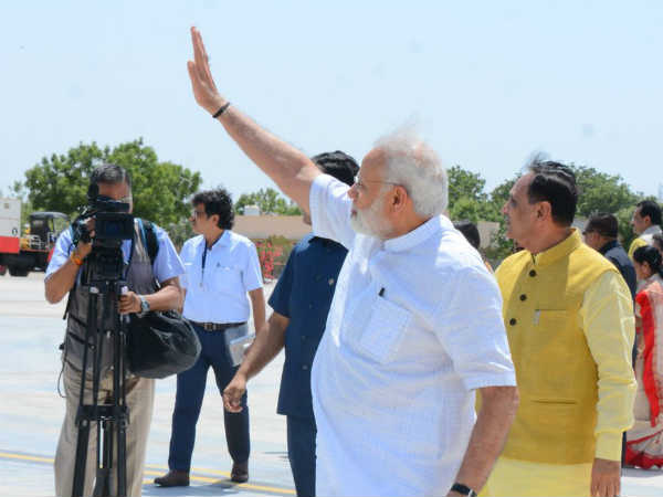 Prime Minister Narendra Modi Arrives At Bhuj