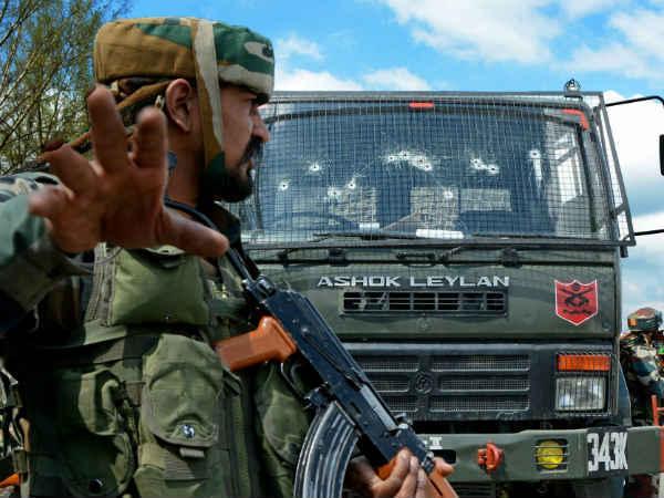 Army Convoy Attacked Terrorists Anantnags Qazigund Jammu Kashmir