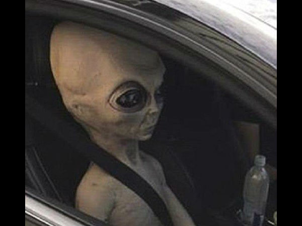 Police Georgia Pull Over Car With Alien Strapped Into The Passengers Seat