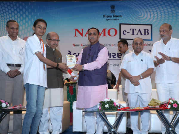 Namo E Tab Is Provided College Student Cm Vijay Rupani