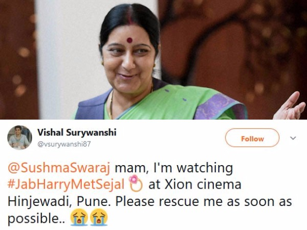 Man From Pune Tweet Sushma Swaraj Mam I Am Watching Jab Har