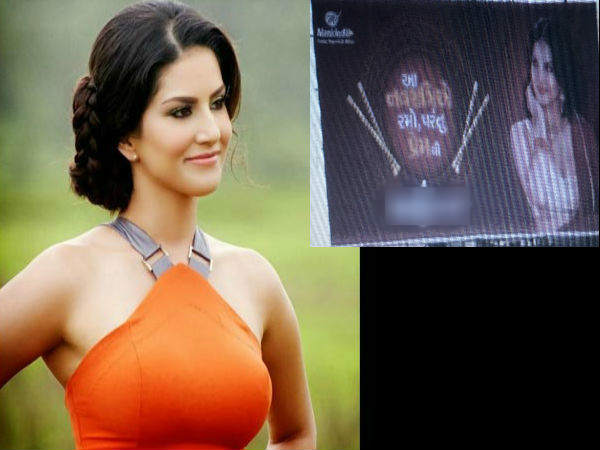 Sunny Leone Shocking Poster Gujarat Before Navratri
